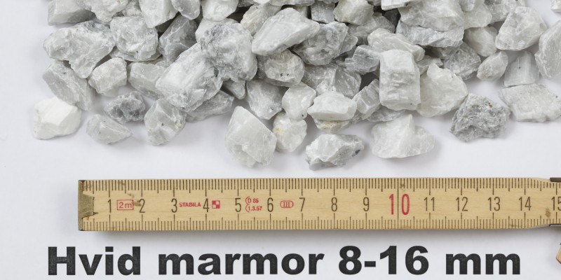 Hvid marmor 8 - 16 mm