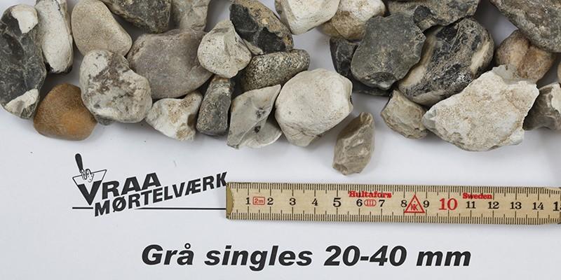 Grå singels 20 - 40 mm