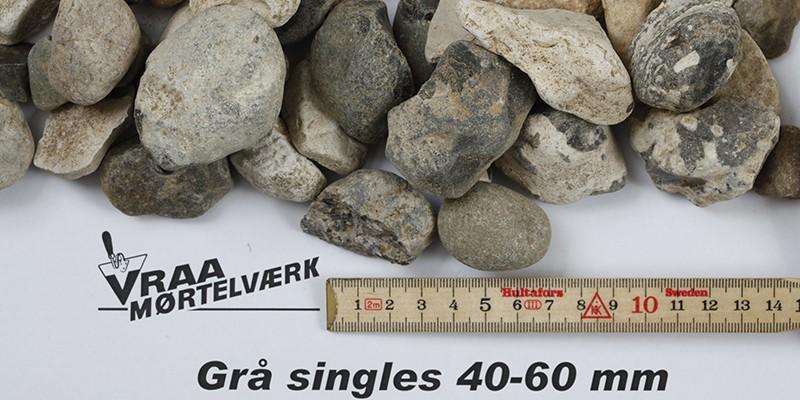 Grå singels 40 - 60 mm